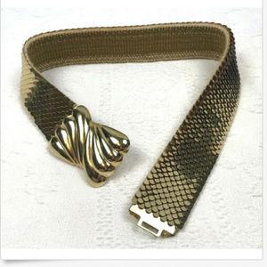Vtg 80s Gold Sequin Belt Stretch Elastic Sz S/M